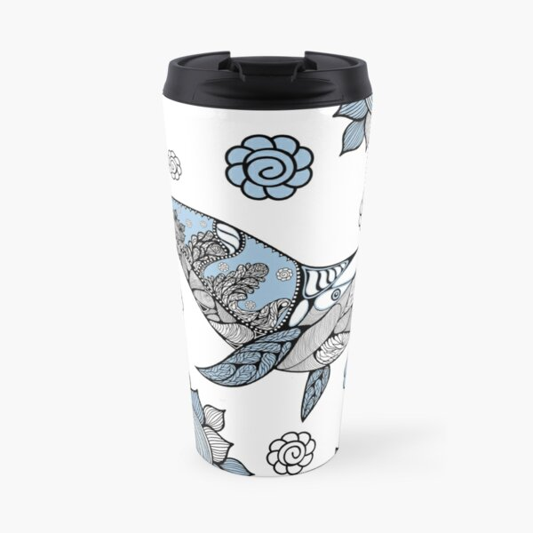 Big blue whale with wavy ornaments and hand drawn shapes Travel Mug