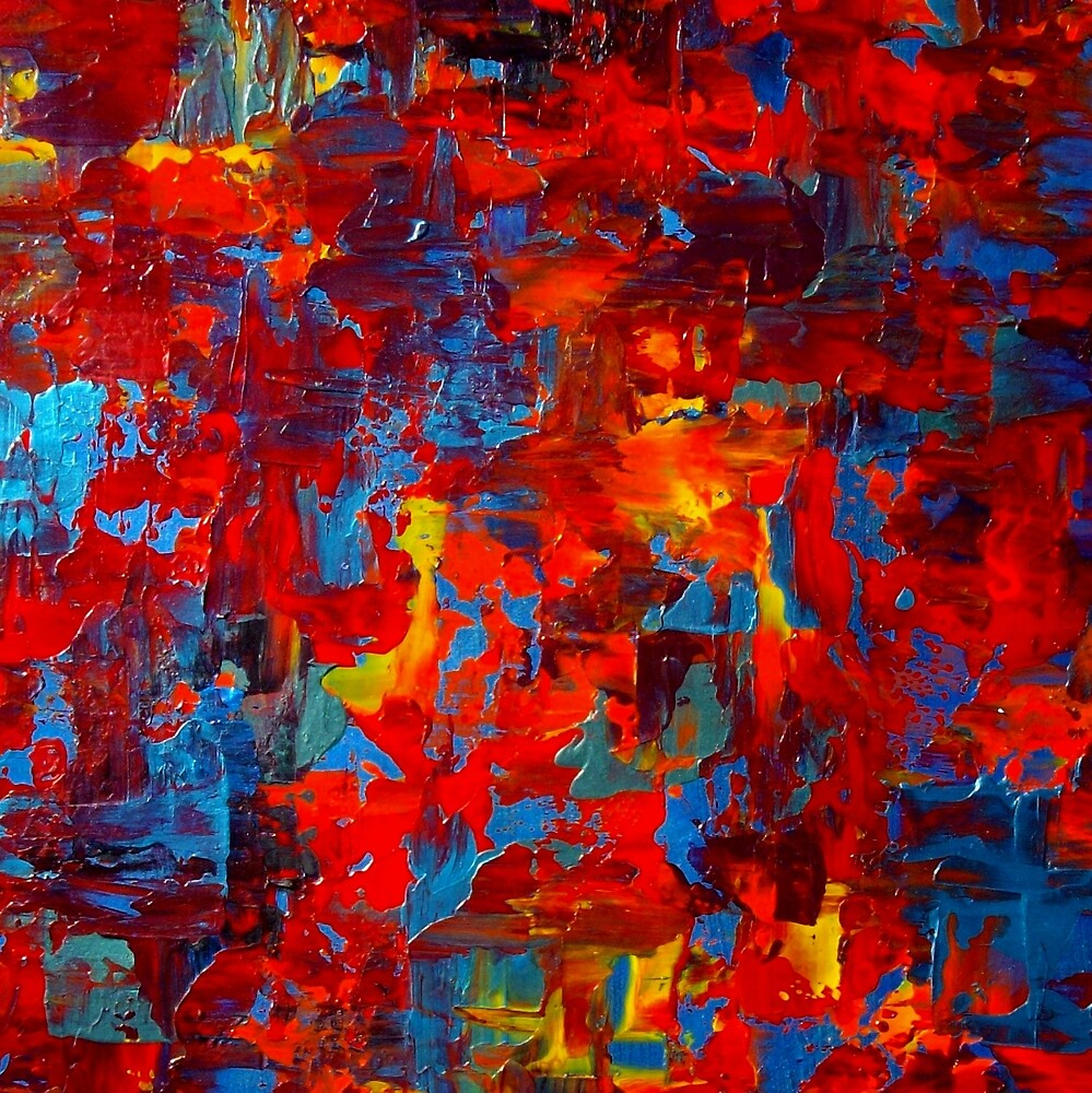 Abstract Knife Painting Impasto Style AUTUMN AT NIGHT 2 by hollyanderson
