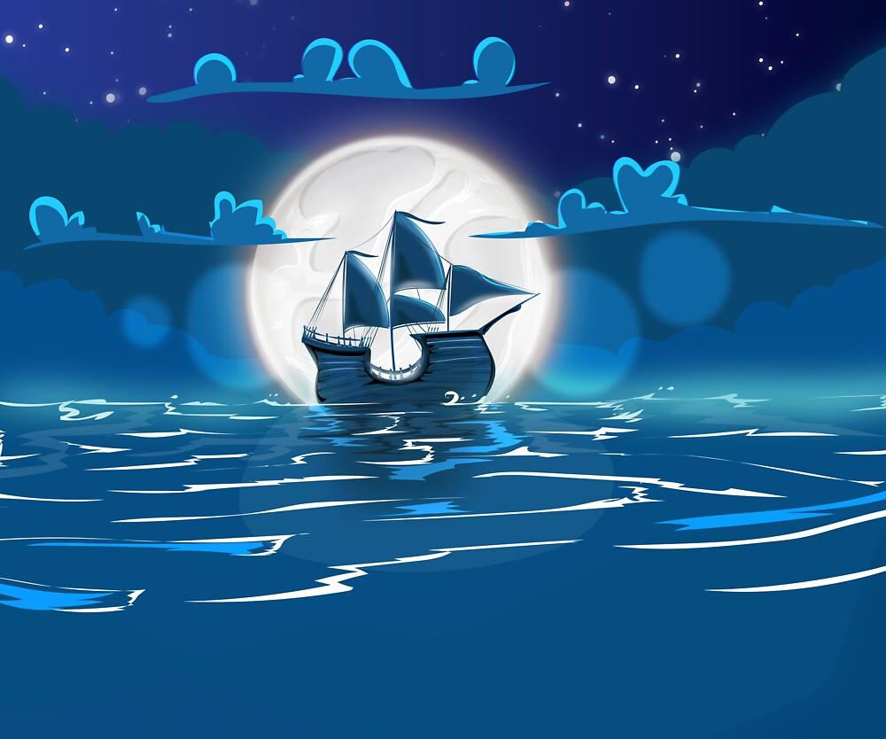 Sailship Voyage under the Moonlight by Nicholas Greenaway