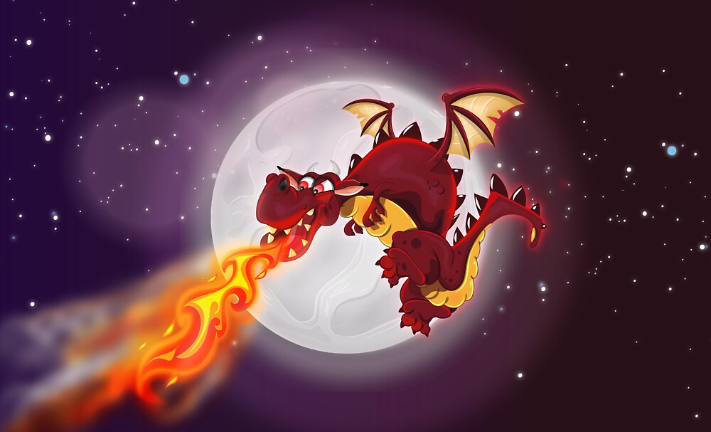 mythological dragon flying and breathing fire by Nicholas Greenaway