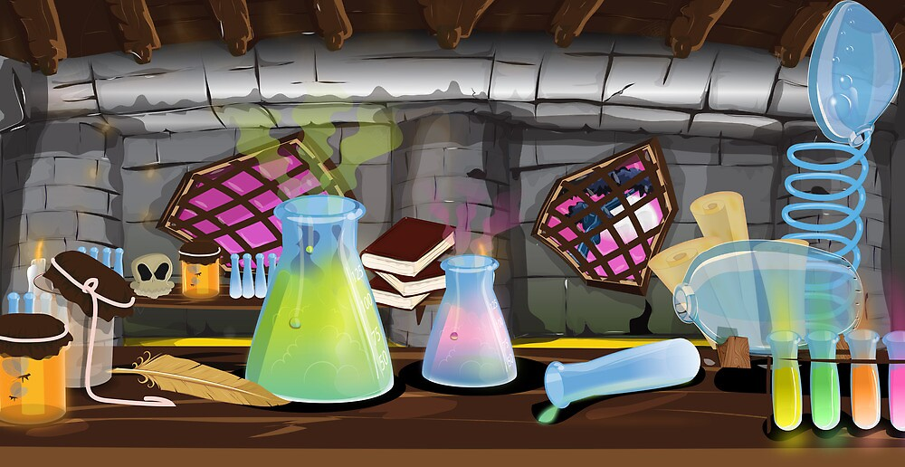 Science Laboratory with experiments bubbling by Nicholas Greenaway