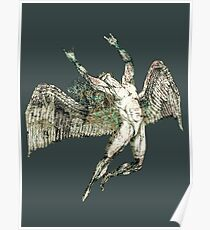 ICARUS THROWS THE HORNS - antique grunge ***FAV ICARUS GONE? SEE BELOW*** Poster