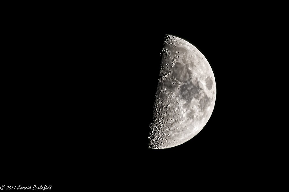 First quarter Moon by kenbrakefield