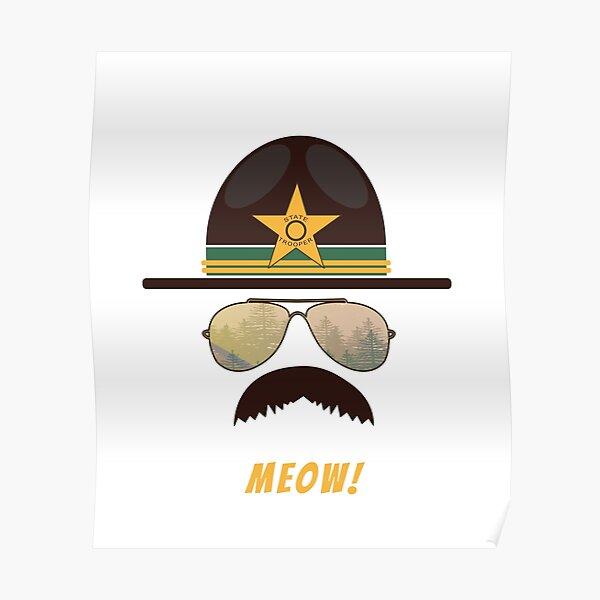 Cop-Stache Cop Humor For Cat Lovers Poster