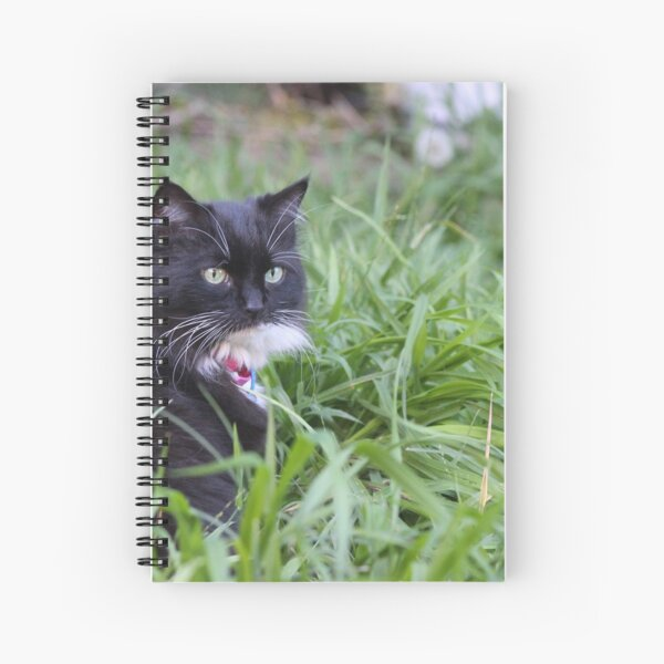 Tuxedo Cat In The Grass Spiral Notebook