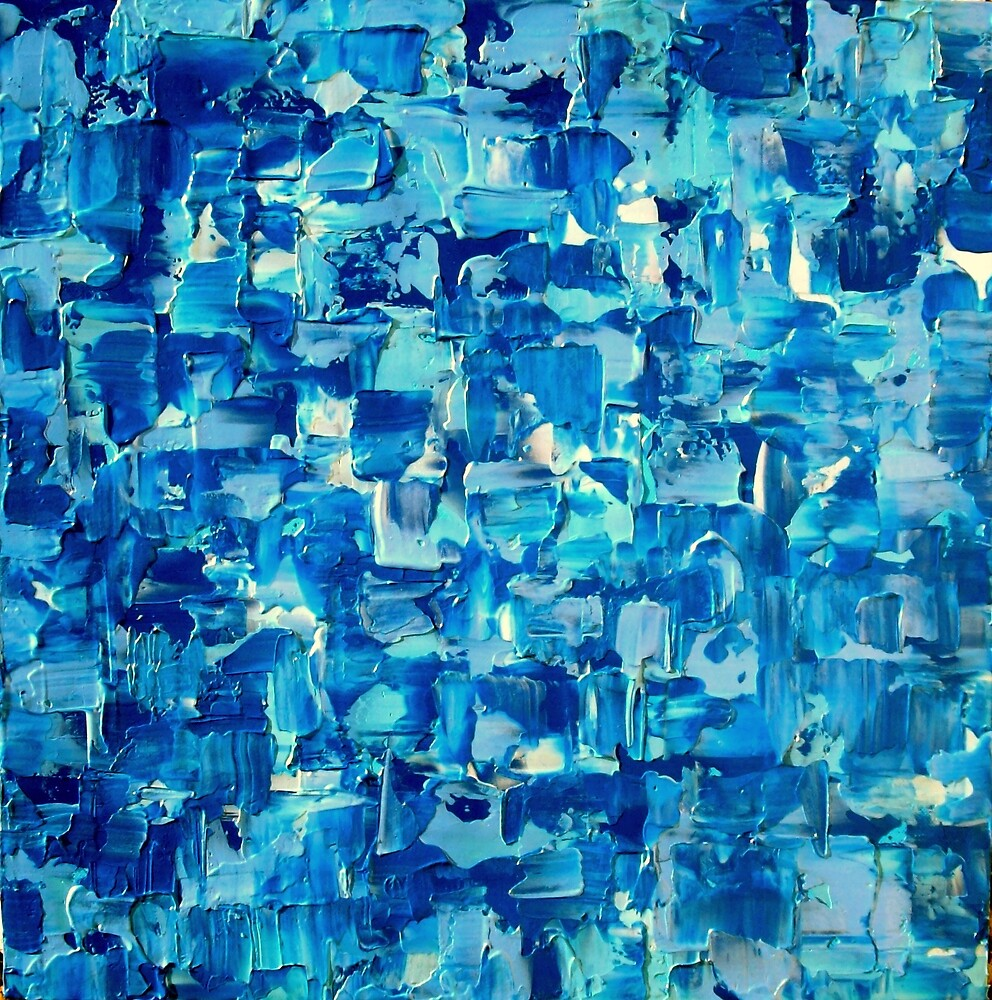 Abstract Knife Painting Impasto Style WATER & LIGHT by hollyanderson