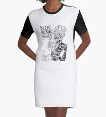 Beer Sucking Freaks (black) Graphic T-Shirt Dress