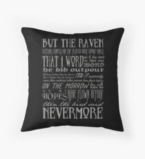 Edgar Allan Poe RAVEN typography Throw Pillow