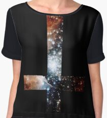 Red Galaxy Inverted Cross Chiffon Top