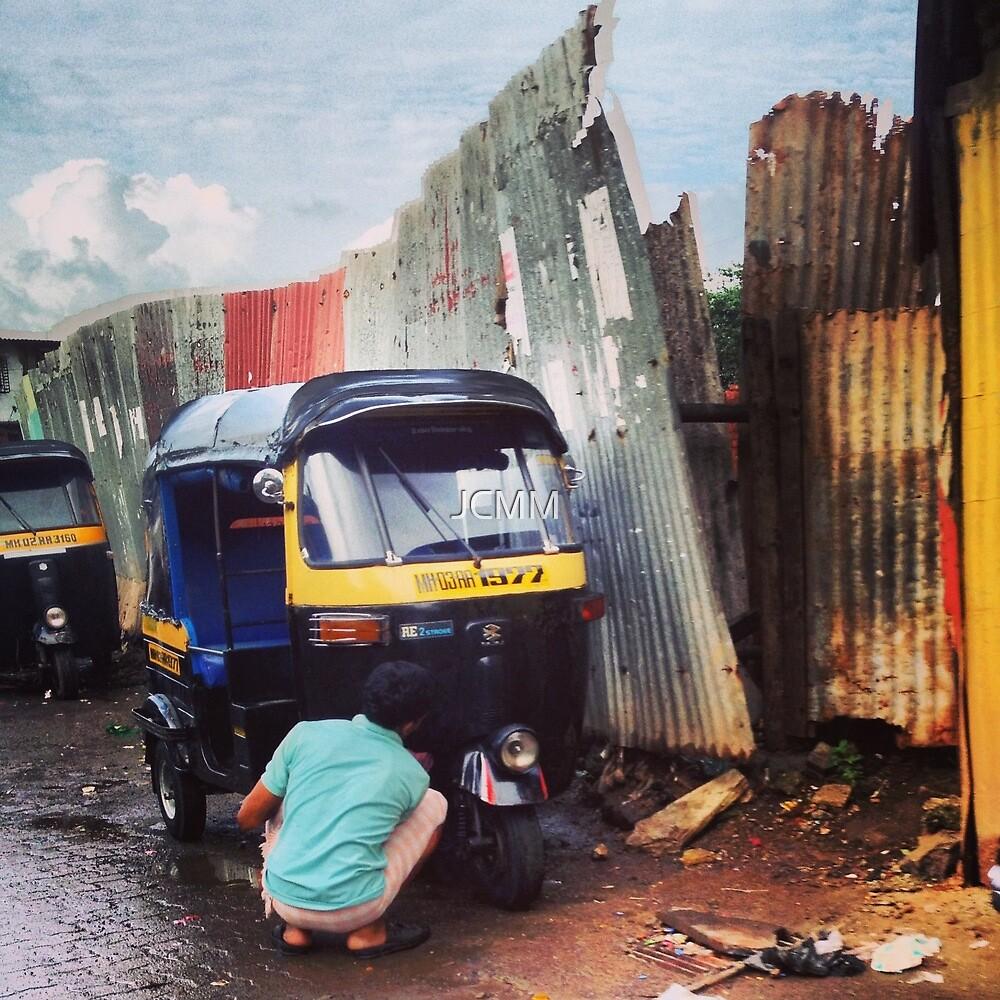 Rickshaw morning wash, Kohinoor, Mumbai, India by JCMM