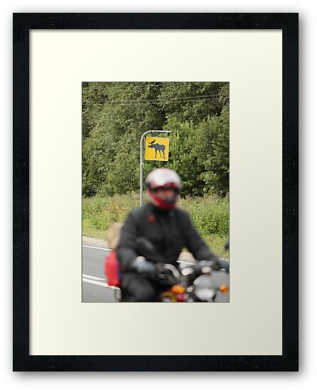 motorcyclist on a background road sign by mrivserg