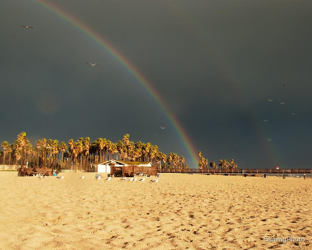 Double rainbow, Beach, photography, California, Seascape by SammyPhoto