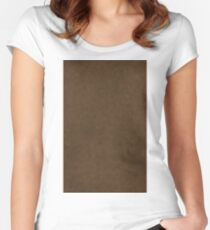Brown Leather Texture Pattern Background Women's Fitted Scoop T-Shirt
