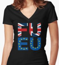 FU EU Anti - European Union T-Shirt  Women's Fitted V-Neck T-Shirt