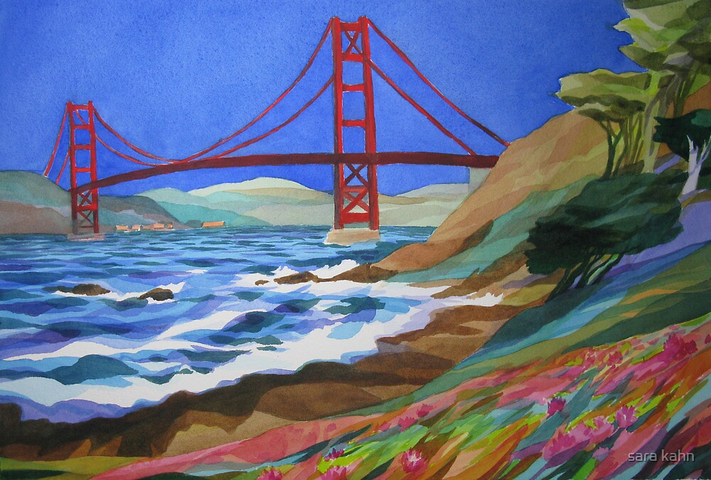 Watercolor of the Golden Gate Bridge by sara kahn
