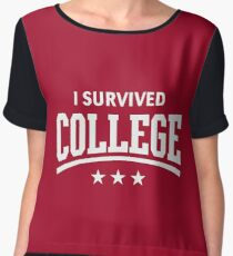 I Survived College (White) Chiffon Top