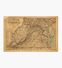 Map of the State of Virginia (1865) Photographic Print