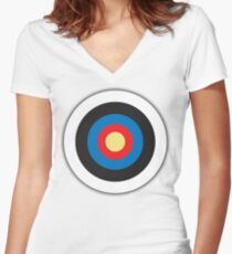 Bulls Eye, Archery, Target, Mod, Roundel, on WHITE Women's Fitted V-Neck T-Shirt