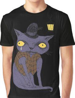 Sad Cat with Moonlight Memories Graphic T-Shirt