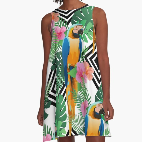 Exotic hibiscus flowers, parrot ara and palm leaves. A-Line Dress