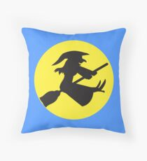 Witch on a broomstick Throw Pillow