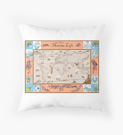 Ancient Marine Life map Throw Pillow