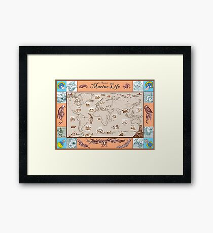 Ancient Marine Life map Framed Print