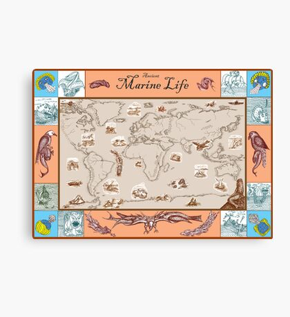Ancient Marine Life map Canvas Print