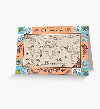 Ancient Marine Life map Greeting Card
