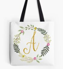 Floral and Gold Initial Monogram A Tote Bag