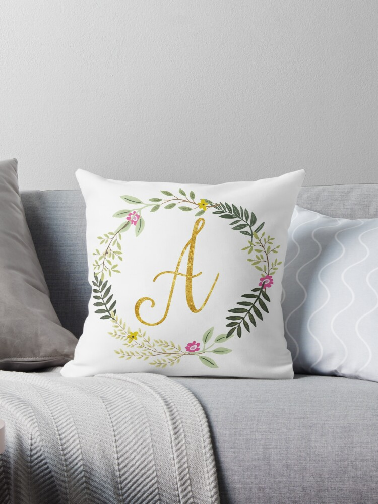 Floral and Gold Initial Monogram A by Heureux Lifestyle