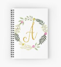Floral and Gold Initial Monogram A Spiral Notebook