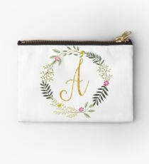 Floral and Gold Initial Monogram A Studio Pouch