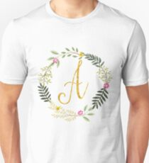 Floral and Gold Initial Monogram A T-Shirt