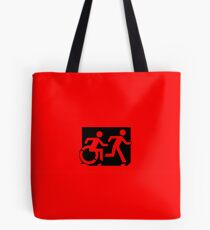 Accessible Means of Egress Icon and Running Man Emergency Exit Sign, Right Hand Tote Bag