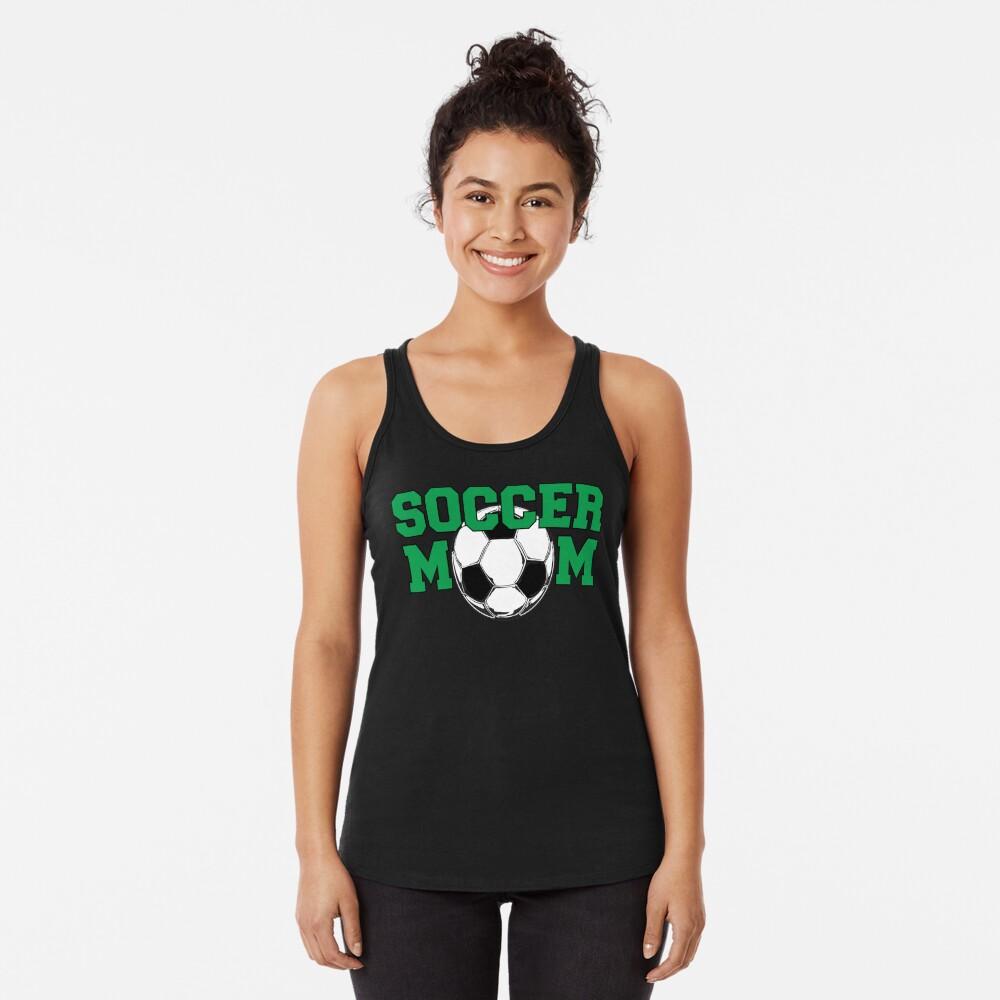 Soccer Mom in Green Racerback Tank Top