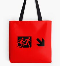 Accessible Means of Egress Icon and Running Man Emergency Exit Sign, Right Hand Diagonally Down Arrow Tote Bag