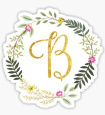 Floral and Gold Initial Monogram B Sticker
