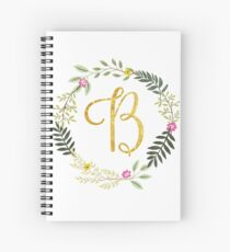 Floral and Gold Initial Monogram B Spiral Notebook
