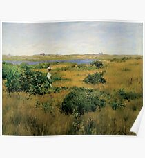 William Merritt Chase - Summer At Shinnecock Hills. Country landscape: Summer , country, travel, garden, rustic, relaxation, rest, game, trees, sun, flowers Poster