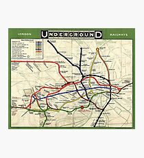 TUBE, UNDERGROUND, MAP, 1908, London, Historic, UK, GB, England, on Green Photographic Print
