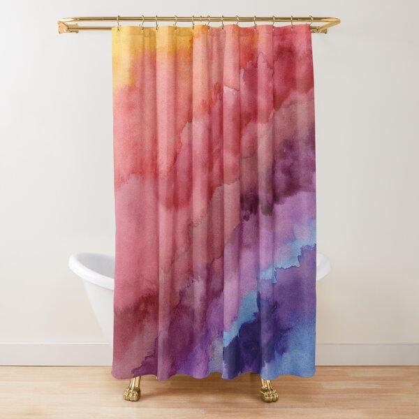 Arc-en-ciel multicolore en aquarelle Rideau de douche