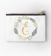 Floral and Gold Initial Monogram E Studio Pouch