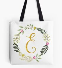 Floral and Gold Initial Monogram E Tote Bag