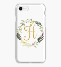 Floral and Gold Initial Monogram H iPhone Case/Skin