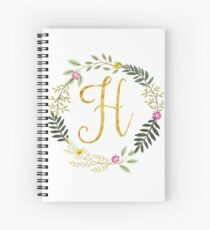 Floral and Gold Initial Monogram H Spiral Notebook