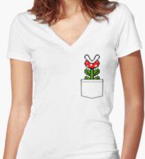 8-Bit Mario Pocket Piranha Plant Women's Fitted V-Neck T-Shirt