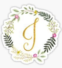 Floral and Gold Initial Monogram J Sticker