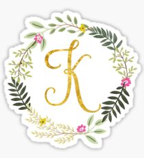 Floral and Gold Initial Monogram K Sticker