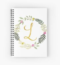 Floral and Gold Initial Monogram L Spiral Notebook